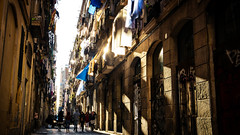 Barcelona Streets (DolanTheTram) Tags: barcelona spain espana city street sunset golden town center architecture