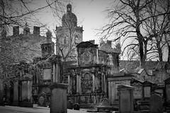 Greyfriars Kirkyard (Harry McGregor) Tags: greyfriarskirkyard edinburgh scotland historic tombstones headstones graves burial christianity harrymcgregor nikon d3300 11 march 2019 blackandwhite monochrome vignette cemetery