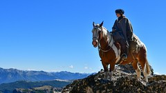 What a view! (Becky_Parkes) Tags: horse riding view travel mountain patagonia argentina gaucho blue skewbald criollo