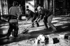 Curling urbain.... / Urban curling... (vedebe) Tags: noiretblanc netb nb bw monochrome rue street ville city urbain urban hommes humain human people travail travaux