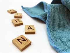 Cleaning essentials stock photo (bmstores) Tags: clean cleaning tidy mess no fuss hassle spring cleanliness marie kondo mrs hinch blue micro fibre cloth scrabble words white background
