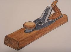 Block Plane (ianulimac) Tags: watercolor drawing draw paint doodle scribble art ianmacdonald crookedpinkiesart old tools shoulderplane blockplane lubrigun drill oldtimey