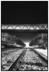 The train is right on time (Jason OC) Tags: jasonoconnell trainbridge blackandwhite bw monochrome winter night nightsky stars saintbruno quebec canon canon5dmarkii samyang14mm 2019