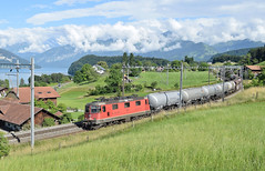 SBB Cargo Freight_11329 (420329)_Einigen, Switzerland_110618_02 (DS 90008) Tags: re44 re420 locomotive lok sbb sbbcffffs sbbcargo einigen locohauled freight wagons logistics train switzerland swissrailways lakethun landscape mountains thun spiez electrictraction tanks electricloco electricfreight hills nature railway