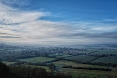 Norton Sub Hamdon, Somerset, from Ham Hill. (margaretgeatches) Tags: green blue trees agriculture cloud mist haze village somerset winter