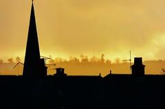 Rooftops (Tobymeg) Tags: rooftops sun winter golden spire scotland chimneys panasonic dmcfz72