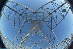 Power Pylon. (PhotoTJH) Tags: phototjh phototjhnl power pylons high voltage pole mast hoogspanningsmast perspectief perspective powerline powerlines tennet pylon sky lines fisheye 8mm
