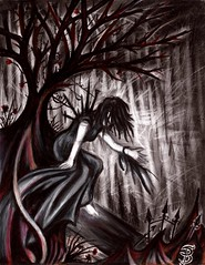 The Storm (Skyler Brown Art) Tags: angst art artwork charcoal coloredpencil creepy dark darkness depressing drawing emotional fear female girl gothic ink intense ominous paper pen people rain sad storm tree trees woman
