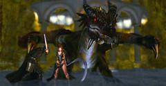 """""""A war  is coming"""" (. A м ч Я σ ѕ ε .) Tags: dragon fantasy warrior queen scythe second life sl secondlife avatar elven"""