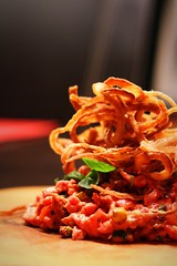 Beef tartare with crispy onions (corineouellet) Tags: dof delish delicious tasty yummy yumyum cooking cook plating foodie foodies food crispyonions friedonions onions beeftartare beef tartare