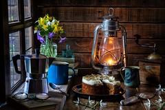 The Dawn of Spring. (memoryweaver) Tags: uk spring snowdrops daffodils coffeegrinder window enamel coffeepot mochapot stilllife memoryweaver windowlight tabletop cake carrrotcake espresso coffee