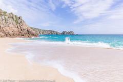 The sweep of the tide - Porthcurno beach, Cornwall (Zoë Power) Tags: turquoisesea beach uk cornishcoast sand waves cornwall porthcurno sea