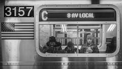8 AV LOCAL (John St John Photography) Tags: streetphotography candidphotography ctrain 34thstreet subwaystation mta newyorkcity newyork commuters woman passengers 8avlocal mobile phone bw blackandwhite blackwhite blackwhitephotos johnstjohnphotography pennstation