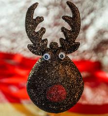Reggie Reindeer....(3 of 3) (+Pattycake+) Tags: 2018 bokeh festive macro lumixdmcgm1 sparkly closeup reindeer shallowdof satin gold xmas textures greetings red