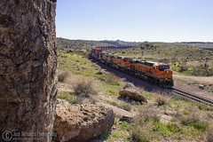 Shadows of Stones (Josh 223) Tags: kingmanarizona kingmancanyon transcon bnsf burlingtonnorthernsantafe freighttrain diesellocomotive kingman arizona az mojavecounty mojavedesert train railroad railway railroadphotography railfanning trainspotting