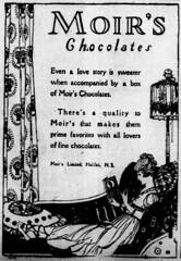 1919 advertisement for Moir's chocolates (Matthew Paul Argall - Old Ads) Tags: canadian advertisement advertising old vintage classic 1919 1910s chocolate moirschocolates lady woman female