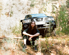 Zulya and Patrol (Alexander Kamnev) Tags: car nissan patrol y61 nissanpatrol 4x4 6x7 forest woods pretty atmosphere beauty outdoor autumn girl filmscan film light portrait people pentax67 analog naturallight samara smcpentax10524 mediumformat morning color beautiful noritsu noon melancholy