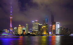 City lights (Pawel Wietecha) Tags: city lights shanghai pudong china river water reflection light red yellow blue orange green white color colors sky clouds buildings skyscraper travel trip journey town cityscape architecture magenta night evening dark landscape nightscape windows view panorama urbanscape downtown ביובית תל אביב