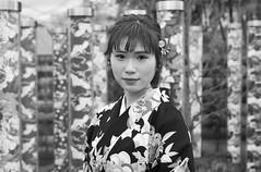 Kyoto street (Andrew Allan Jpn) Tags: japan japanesegirl kimono yukata travel kyoto eyecontact eyes portrait streetportrait streetfashion beauty beautiful monochrome blackandwhite greyscale happyplanet asiafavorites