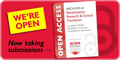 Archives of Rehabilitation Research & Clinical Translation (ACRM-Rehabilitation) Tags: openaccess openarchives archivesofphysicalmedicinerehabilitation archivesofrehabilitationresearchclinicaltranslation submit getpublished archivesofpmr acrm|americancongressofrehabilitationmedicine med medicalassociation medicaljournal evidencebased scientificresearch science scientificpaperposters rehabilitationresearch rehabilitationtechnology