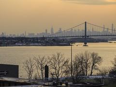 Manhattan Skyline And Whitestone Bridge At Sunset; from Throgs Neck Bridge, Bronx/Queens, New York (hogophotoNY) Tags: newyorkstate lateafternoon evening commuting commute sunset usa us bronx queens hogophoto hogo nikon