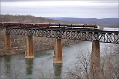 Office Car Special: Potomac Crossing (Images by A.J.) Tags: norfolk southern passenger office locomotive car special ocs emd fp9a f7b pullman pennsylvania bridge potomac river maryland west virginia shepherdstown classic streamliner heritage railroad train railway rail
