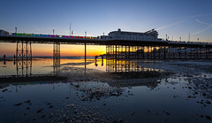 Pier Review (snomanda) Tags: pier sunset sundown twilight dusk coast coastal sea ocean seaside reflection tide lowtide photographers landscape light pools silhouettes