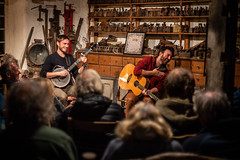 Jimmy Aldridge and Sid Goldsmith in the Sprint Mill, Cumbria (t.allsopdrystone) Tags: folk duo guitar banjo mill lake district music performer singer musician