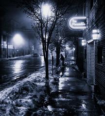 Meanwhile (paulh192) Tags: grandrapids michigan night winter snow coldbicycle bar streetscene afterdark nightlights blue blackandwhite sony zeiss fog