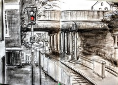 Exeter Central station (Happy Sketcher) Tags: drawing illustration sketch urbansketch graphite railway