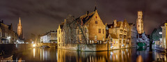 Brugge Belgium (Thibault Demuynck) Tags: brugge bruges belgie belgium nikon panorama night photography dark water waterfront architecture light nightscape chocolat beer flanders town city medieval history historical