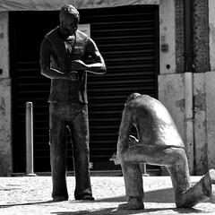 Hommage to the Lisbon Pavers (pedrosimoes7) Tags: pavers calceteiros lisbon portugal sculpture escultura fotoderua blackandwhite blackwhite blackwhitepassionaward blackandwhiteonly street streetshot streetart