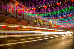 Colors and lights of Chanthaburi Street during Chinese New Year with traffic light trails. (baddoguy) Tags: above backgrounds beauty building exterior built structure celebration event chinese culture new year city street cityscape color image copy space cultures curtain decoration diminishing perspective glittering hanging happiness holiday horizontal land vehicle lantern festival light trail local landmark long exposure luck multi colored years eve night no people outdoors photography point view speed thai thailand travel destinations urban road urgency vibrant wall feature window