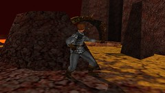 Basilisk Bypass (Platemail) (BarricadeCaptures) Tags: kingsquest kingsquestmaskofeternity maskofeternity thebarrenregion barrenregion lava connorofdaventry connor chainmail platemail basilisk rocks gamescreenshots gamephotography videogame screencapture screenshot
