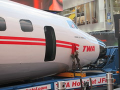 2019 Celebration of Retro TWA Hotel - Wingless Plane Times Square 4503 (Brechtbug) Tags: 2019 celebration retro twa hotel brooklyn wingless 1958 lockheed constellation connie l1649a starliner airplane visits times square before heading trans world airlines new yorks john f kennedy international airport known york anderson field commonly idlewild city march 23rd nyc 02232019