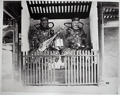 """Hotz collection: Guangzhou Temple Guardians """"Ting-Wong"""" by Lai Fong, ca. 1870 (Charles in Shanghai) Tags: charles shanghai albert hotz albertus paulus hermanus holland china trading company handelscompagnie rotterdam universiteit leiden university bibliotheek bijzondere collecties special collections early photography libslibs librariesandlibrarians hchc haagsche courant nrc delphernl perzië john thomson london mattie boom rijksmuseum everyoneaphotographer exhibition gwulo guangzhou kanton canton bw blackandwhite monochrome people street chinese temple guardian ting wong"""