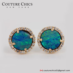 9 mm 14k Yellow Gold Opal Gemstone Stud Earrings Diamond Pave Handmade Jewelry (couturechics.facebook1) Tags: 9 mm 14k yellow gold opal gemstone stud earrings diamond pave handmade jewelry