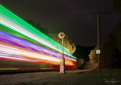 Train of Lights (Patrick Dirden) Tags: lights christmaslights blur motionblur rail railroad train passengertrain ncry nilescanyonrailway farwellca fremontca nilescanyon alamedacounty eastbayhills eastbay bayarea northerncalifornia california