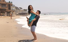 Happy Couple (Prayitno / Thank you for (12 millions +) view) Tags: photo model modeling couple engagement shooting life style beach ocean water front coast coastal line sea shore day time outdoor smile smiling sonrisas
