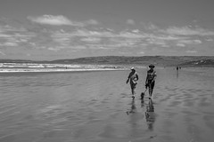 Beach Walk (Anthony Kernich Photo) Tags: adelaide australia sa southaustralia goolwa beach sea sand shore ocean water outdoor summer roadtrip travel outside blackandwhite blackwhite monochrome mono grayscale people person couple two animal scene action life candid olympusem10 olympus olympusomd microfourthirds