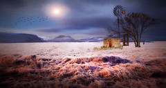 Frozen Fields (jarr1520) Tags: sky clouds sun dawn sunrise sunset mountains snow cold composite textured tree fields landscape outdoor windmill