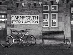 15/365 Carnforth Station Junction (Charlie Little) Tags: carnforth railway station blackandwhite mono bw bench bike project365 p365 cameraphone mobilephotography huawei p20pro nostalgic