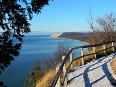 Northern Michigan (JamesEyeViewPhotography) Tags: sleepingbeardunesnationallakeshore greatlakes lake michigan water winter trees sky sand dunes grass landscape lakemichigan fence snow january empire bluffs beach northernmichigan jameseyeviewphotography