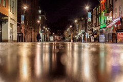 Streets paved with gold (Paul Wrights Reserved) Tags: bokeh street streetphotography night nightphotography nighttime reflection reflections reflectionphotography leadinglines leading per lowangle shine shiny streetlights londonstreets camden different