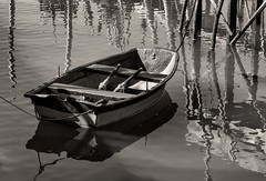 'Your chariot awaits ... ' (Canadapt) Tags: bw toned boat skiff rowboat oars dock pilings reflection moored tróia portugal canadapt