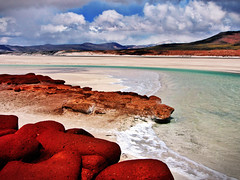 Crystal Lake Beach Red Rocks (Alexander H.M. Cascone [insta @cascones]) Tags: south america southamerica chile latinoamerica san pedro sanpedro sanpedrodeatacama atacama desert nature travel water clouds sky natural landscape blue beautiful view waves beach rocks red mountains mountain lake alien