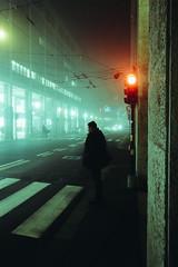 Stop (matteoguidetti) Tags: night street streetphotography urban urbanphotography neonlights fog foggy mood redlight man waiting nebbia strada uomo semaforo rosso centro città walking nightwalker