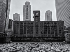 Breakup (ancientlives) Tags: chicago chicagoriver illinois il usa river walking riverwalk ice frozen snow water cold sky clouds britannia buildings towers city cityscape skyline skyscrapers architecture blackandwhite bw mono monochrome sunday february 2019 winter downtown thaw