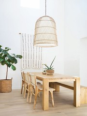 modern bohemian dining room with large natural pendant (CoolHomeStyling) Tags: home decor design styling interior