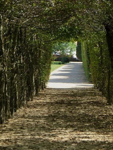 Dans le jardin sous les charmilles, villa Arnaga (1903-1906), Cambo-les-Bains, Labourd, Pays basque, Pyrénées Atlantiques, Aquitaine, France.